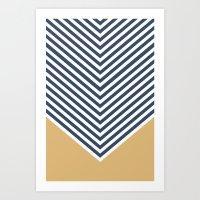 Gold & Navy Chevron Art Print