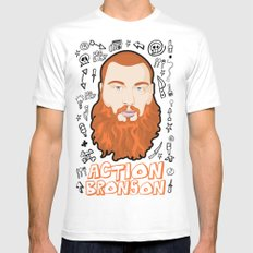 Action Bronson Portrait 2 Mens Fitted Tee White SMALL