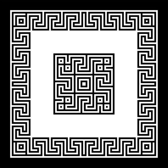 Greek Key black Art Print