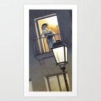 At the window / A la fenêtre Art Print