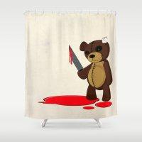 Psycho Teddy Shower Curtain