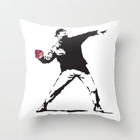 Angry Birdksy Throw Pillow