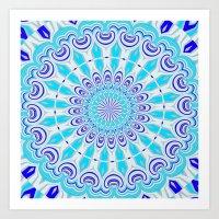 mandala blue Art Print