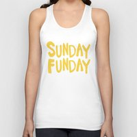 Sunday Funday - yellow hand lettering Unisex Tank Top