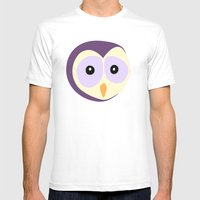 Owl Indigo Mens Fitted Tee White SMALL