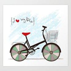 I {❤} My Bike Art Print
