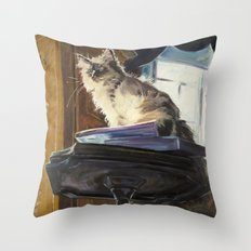 The Magnificent Ascent of the Mighty Bear (the Ragdoll Cat) Throw Pillow