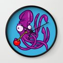 Squid And Cherry Wall Clock