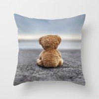 Teddy Blue Throw Pillow