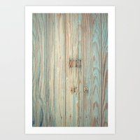 Vintage Bead Board Panels with Chippy Paint Art Print