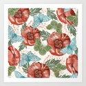 Poppies and Butterflies Pattern Art Print