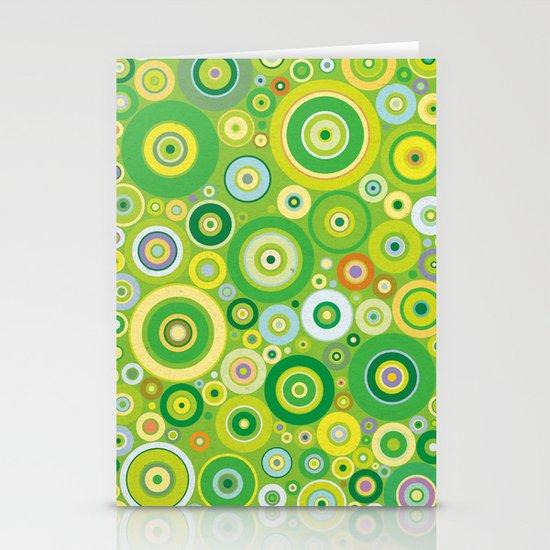 Green circles vintage pattern Stationery Card