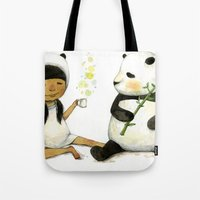 Tea Time with Panda  Tote Bag