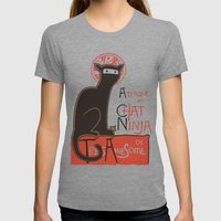A French Ninja Cat (Le Chat Ninja) Womens Fitted Tee Tri-Grey SMALL