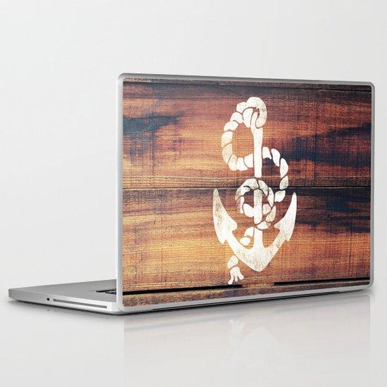 Vintage Nautical Anchor White on Brown Wood Grain Laptop & iPad Skin