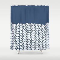Half Knit Navy Shower Curtain