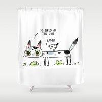 Annoyed Cat Shower Curtain