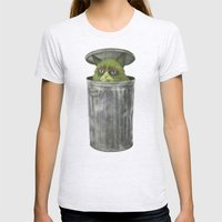 Grouchy Cat  Womens Fitted Tee Ash Grey SMALL