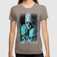 Haunted Halloween Pyramid of Skulls  Womens Fitted Tee Tri-Coffee SMALL