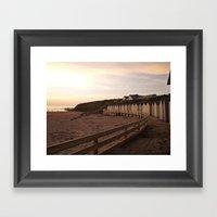 Beach Huts Sunset Framed Art Print