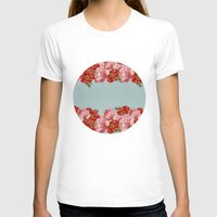 Vintage Floral Womens Fitted Tee White SMALL
