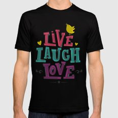 live laugh love Mens Fitted Tee Black SMALL