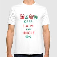 Keep Calm and Jingle On Mens Fitted Tee White SMALL