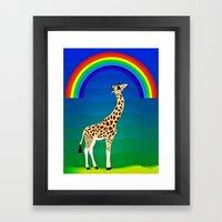 Giraffe with swag Framed Art Print
