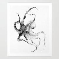 fish Art Prints featuring Octopus by Alexis Marcou