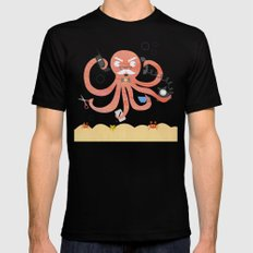 A busy Octopus works in an office Mens Fitted Tee Black SMALL
