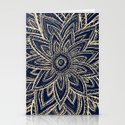Cute Retro Gold abstract Flower Drawing on Black Stationery Cards