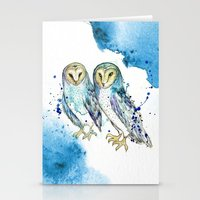 Blue Owls Stationery Cards