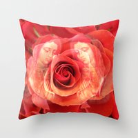 La Virgen de Guadalupe series: Worship of the Rose Throw Pillow
