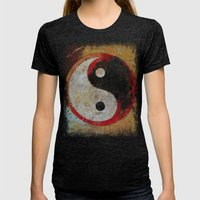 Yin Yang Dragon Womens Fitted Tee Tri-Black SMALL