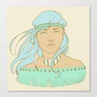 American Indian Nature Goddess in Seafoam Canvas Print