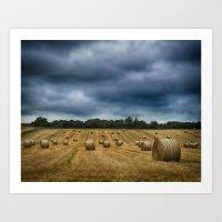 straw bales Art Print