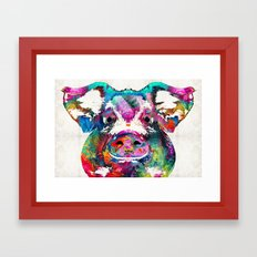 Colorful Pig Art - Squeal Appeal - By Sharon Cummings Framed Art Print