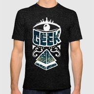 GEEK Mens Fitted Tee Tri-Black SMALL