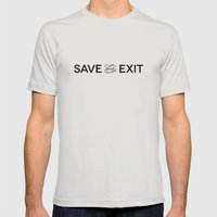 Save and Exit Mens Fitted Tee Silver SMALL