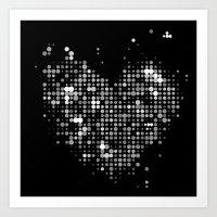 Heart2 Black Art Print