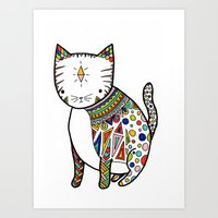 Patterned Cat Art Print