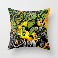 Doktor Steampug Versus Gorillizard! Throw Pillow