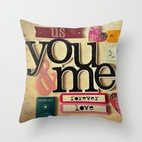 Collage Love - You & Me Throw Pillow