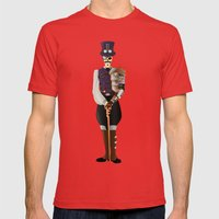 Steampunk Skeleton Mens Fitted Tee Red SMALL