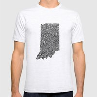 Typographic Indiana Mens Fitted Tee Ash Grey SMALL