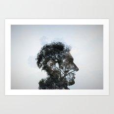 Tr(u)ee love double exposure Art Print