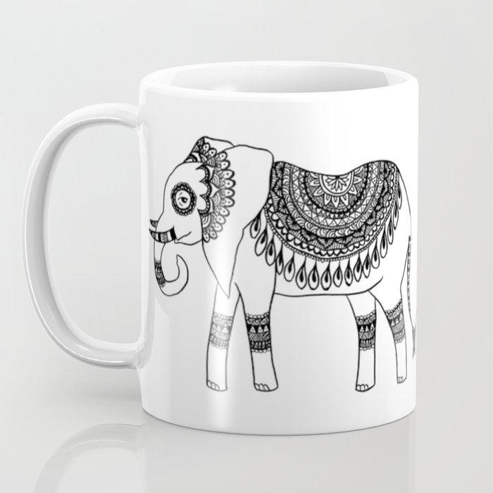 henna elephant mug doodle art