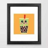 Happy Pixel Bubble Tea Framed Art Print