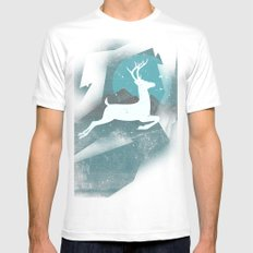 Over The Moon White Mens Fitted Tee SMALL
