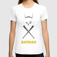 Bat Man Womens Fitted Tee White SMALL